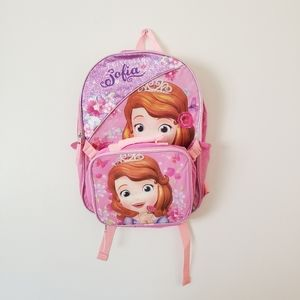 NWOT Sofia the First Pink Backpack and Matching Lunchbox